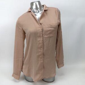 H M Blush Pink Button Up Roll Up Sleeve Dress Shirt Womens Size 2  763299180036
