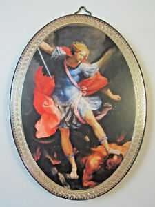 St-Michael-Icon-Picture-on-Wood-Oval-5-3-4-034-Made-in-Italy