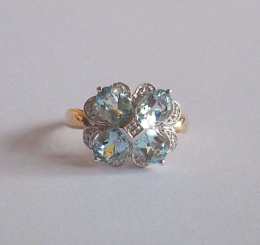 14K gold AQUAMARINE & DIAMOND FLORAL DESIGN RING SZ 7  4 GR BEAUTIFUL STONES NEW