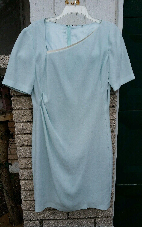 Elie Tahari dress sz.10 sheath aqua Blau asymmetrical leather neck Memorial Day
