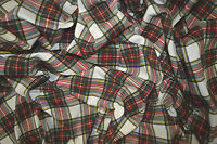 TARTAN PRINT ON WHITE STRETCH COTTON SINGLE JERSEY FABRIC T-SHIRT DRESS WEIGHT