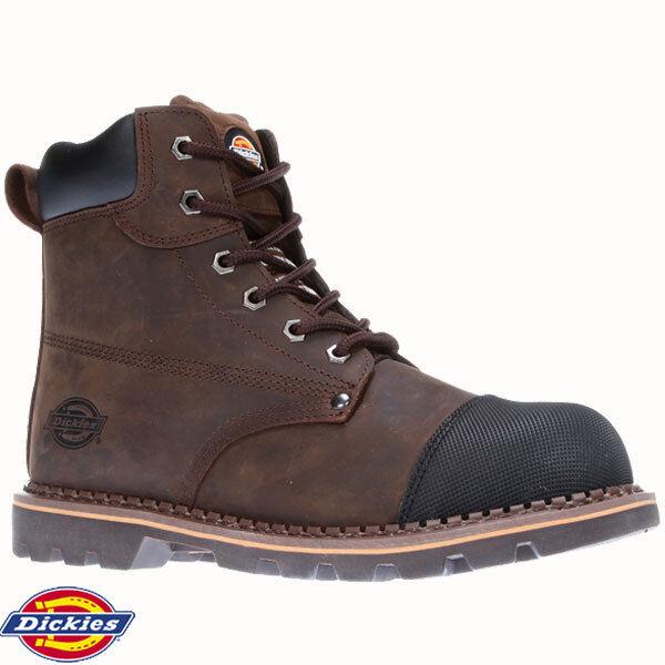 Dickies FD9210 Crawford braun Leather Steel Toe Cap Safety Work Stiefel schuhe Größe