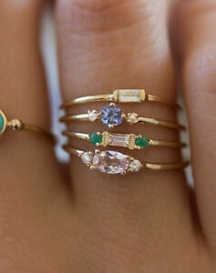 4pcs-Fashion-Women-14K-Gold-Plated-Gemstone-Zircon-Finger-Stacking-Knuckle-Rings