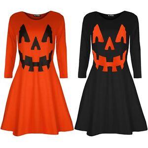 Ladies Womens Halloween Smock Long Sleeve Pumpkin Party Swing Flared Mini Dress