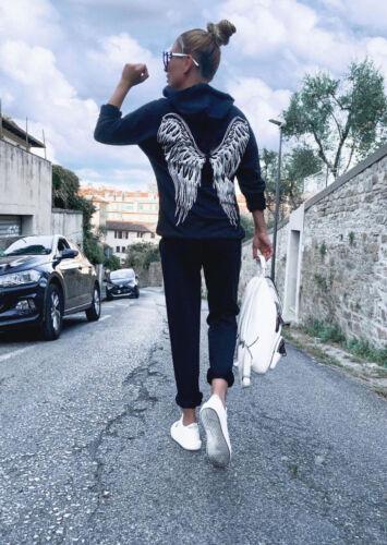 Women/'s Ladies Angel Wings Back Hooded Loungewear Co ord 2 Pc Set Tracksuit