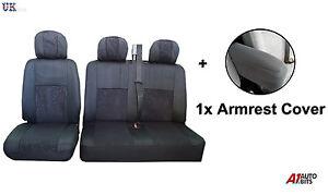 2-1-noir-confort-FLEXIBLE-TISSU-ROUGE-SEAT-amp-ACCOUDOIR-Housses-Kit-pour