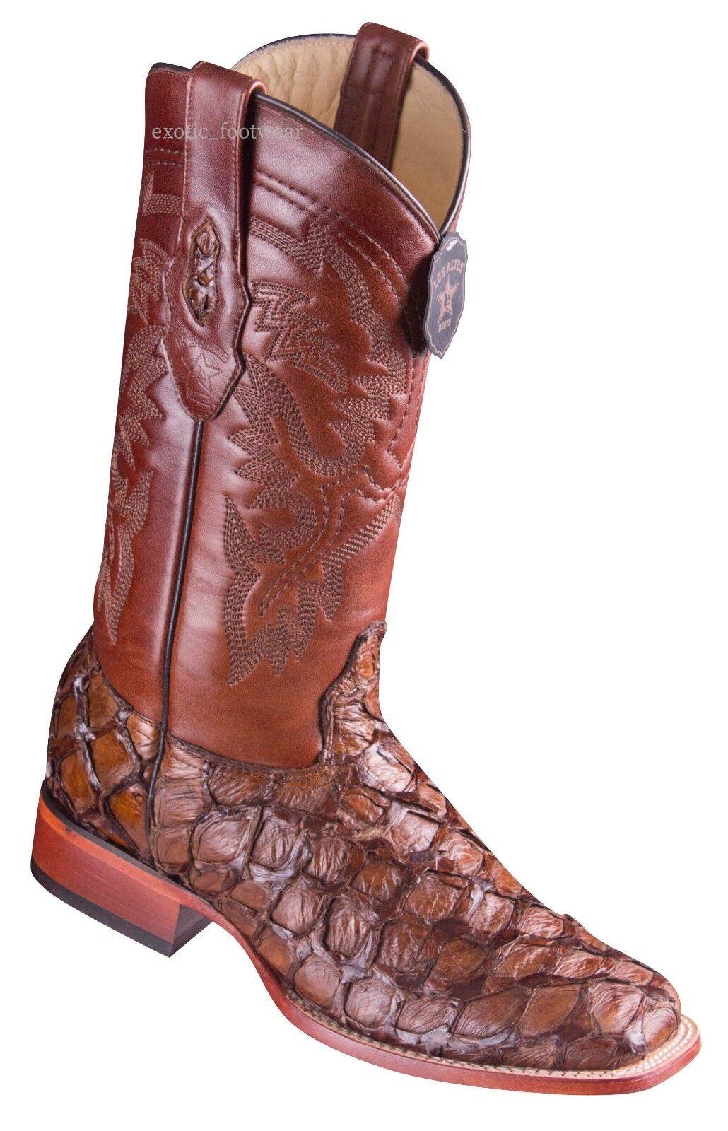 Para Hombre los altos Genuino Pirarucu pescado dedo del pie cuadrado Ancho botas occidentales hecho a mano