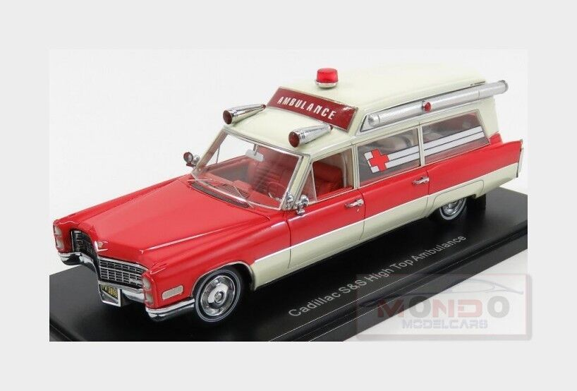 Cadillac S&S High Top Ambulance Ambulanza 1966 Red White NEOSCALE 1 43 NEO43898