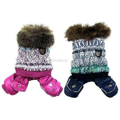 Small Dog Pet Winter Warm Coat Jacket Puppy Jumpsuit Hooded Snowman Clothes