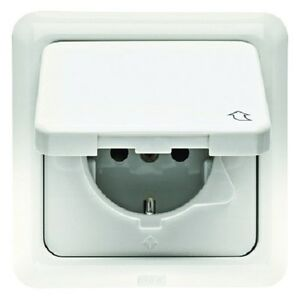 BERKER-4718-Schuko-Outlet-Hinged-cover-and-frame-uP-IP44-cream-white