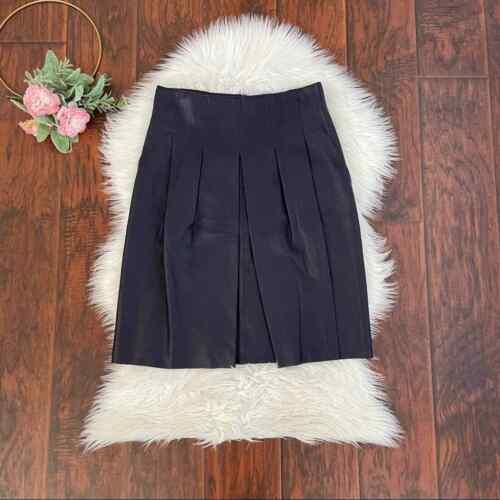 AKRIS Size 8 Purple Pleated Leather Short Skirt