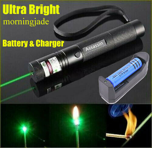Super Bright 900 Miles Green Laser Pointer 18650 Rechargeable Lazer 532nm+Char