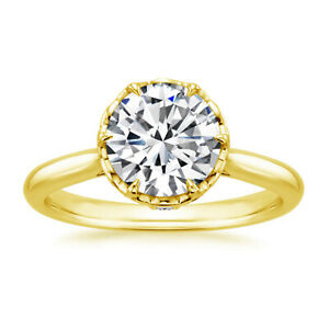1.61 Ct Round Cut Moissanite Anniversary Superb Ring 18K Real Yellow Gold Size 4