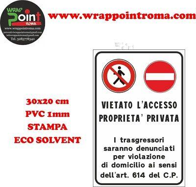 CARTELLO PROPRIETA' PRIVATA 30x 20 ALLUMINIO MA20033