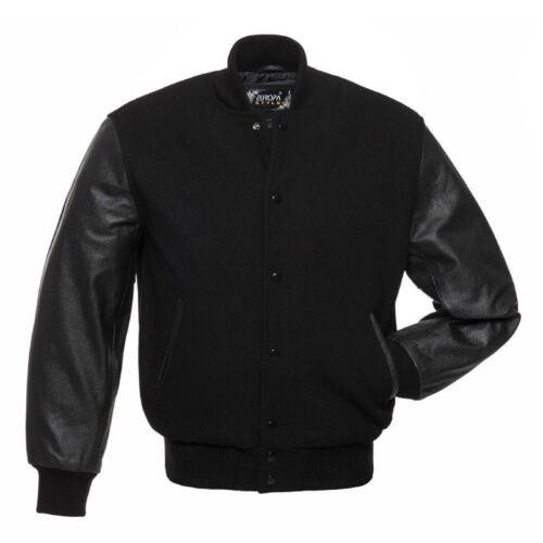 laine manches noir en Varsity aviateur en cuir Letterman avec College v Blouson SCTAqExn