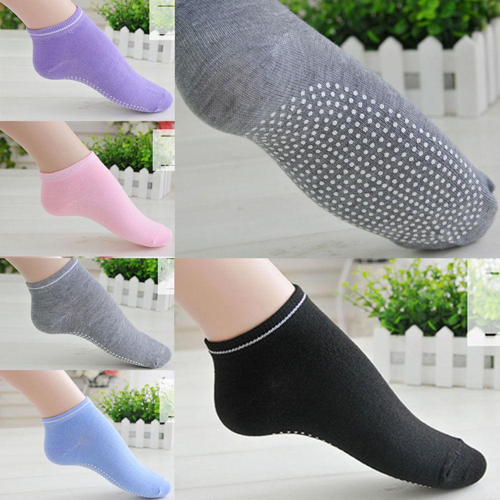 3 Pairs Yoga Fitness Grip Excercise Socks Sport Rubber Pilates Non Slip Sock Gym