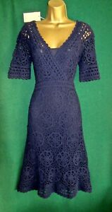 New-MONSOON-039-Medium-039-UK-12-Navy-Blue-HELEN-Crochet-Knit-Boho-Shift-Dress-Rare