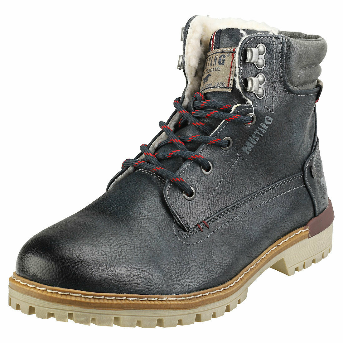 Mustang Lace Up Side Zip Mens Navy Synthetic Chukka Stiefel