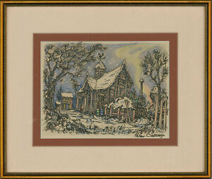 Peter Classey - 20th Century Pen and Ink Drawing, Winter at the Barn