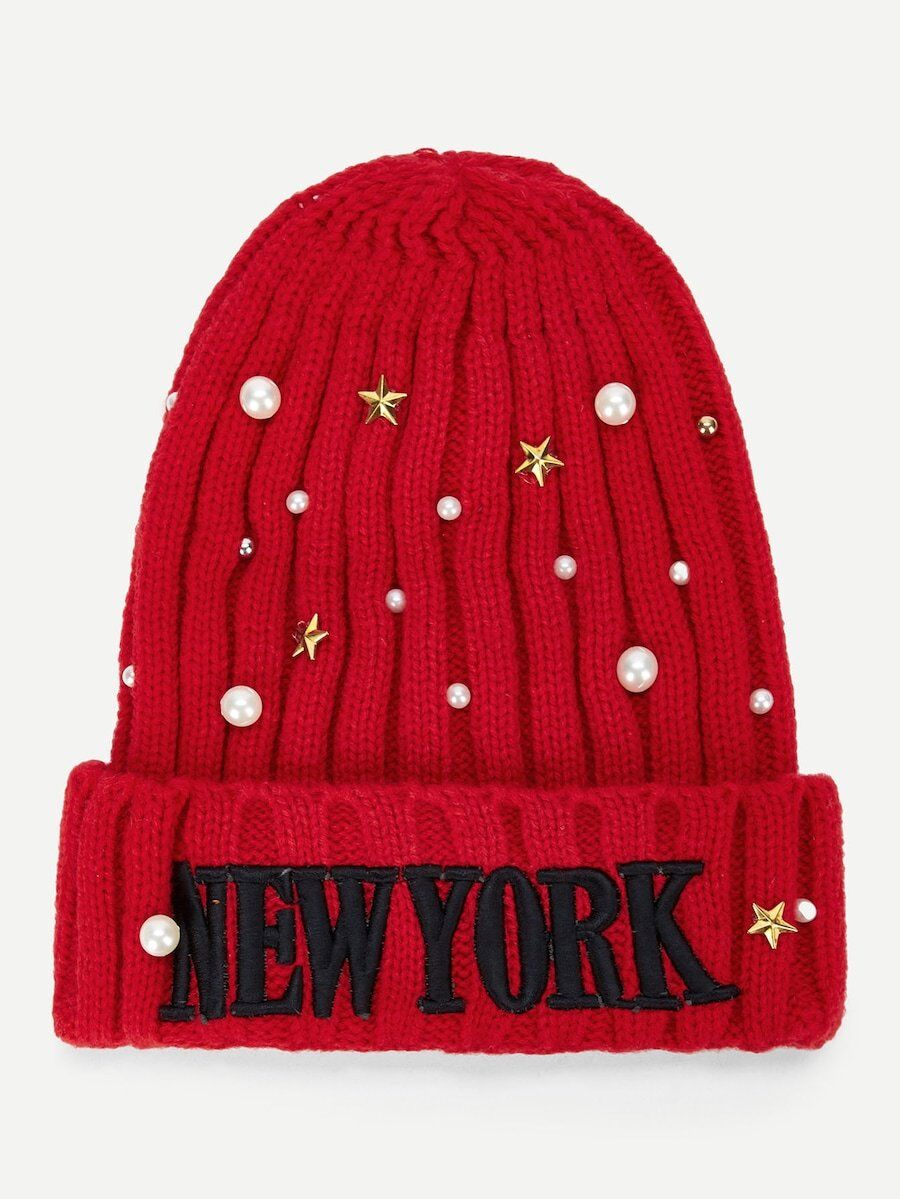 Red Bulky Knit Beanie New York Embellished with stars a