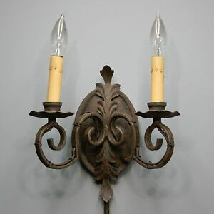 Image Is Loading Vtg Wrought Iron Candelabra Wall Scone Lamp Thumb