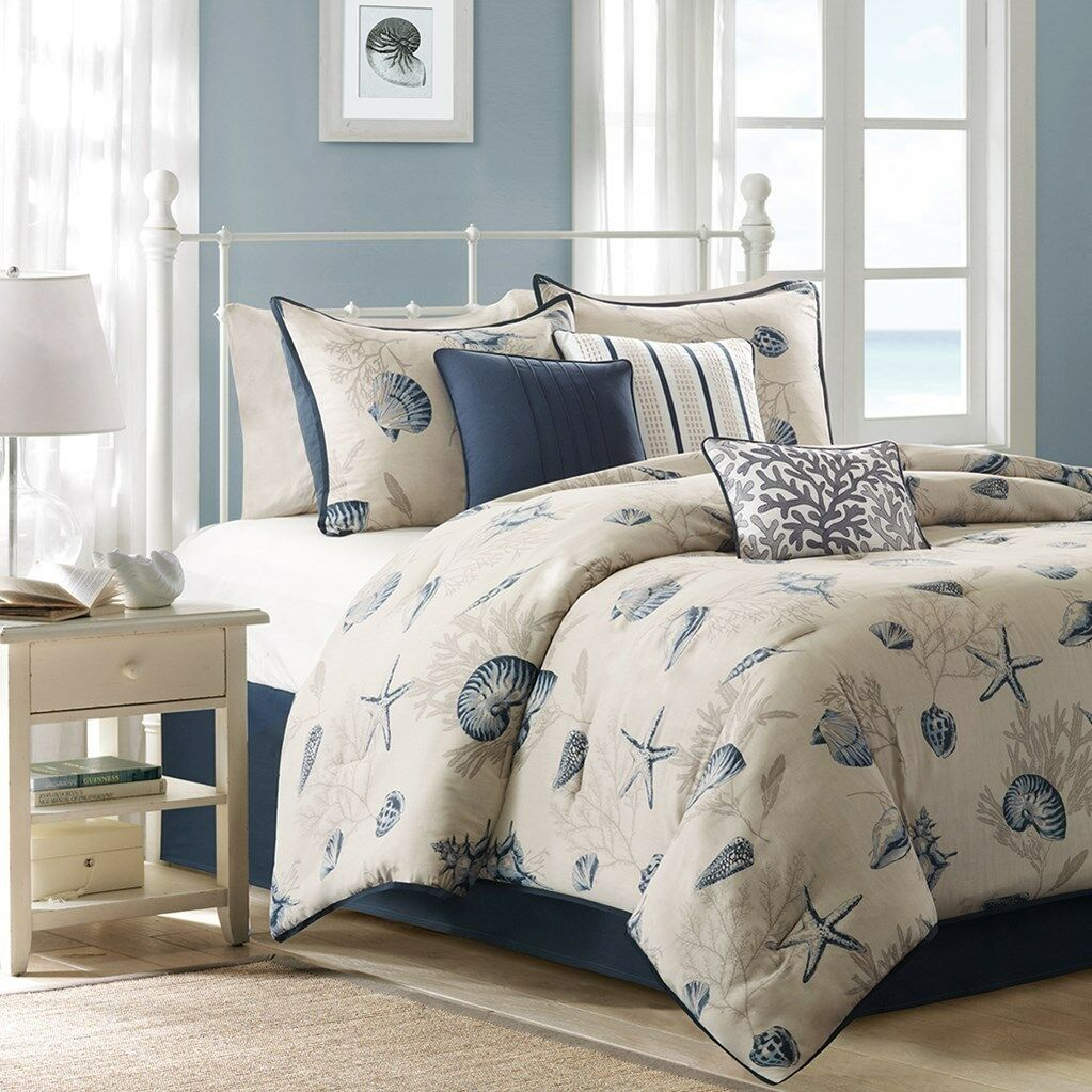 Seashell Beach House Nautical King Comforter Shams Toss Pillows 7 Piece Bedding