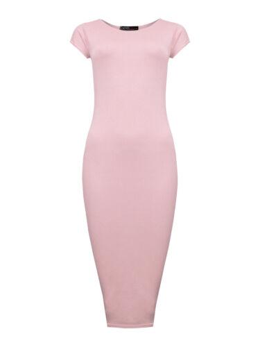Señoras vestido Midi nuevo para mujer Manga corta vestidos de bodycon Llanura UK 8 10 12 14