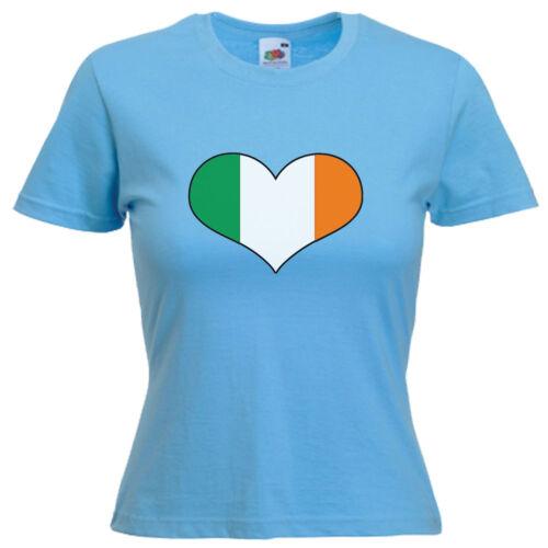 Ireland Heart Flag Ladies Lady Fit Womens T Shirt