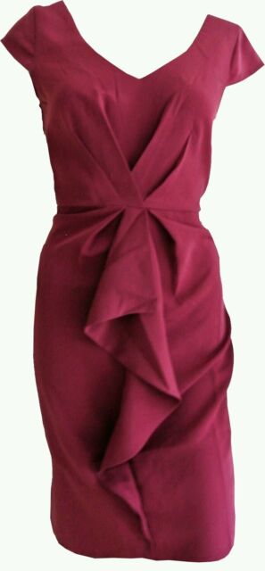New Awear ASOS 6 8 Raspberry Red Smart Evening Frill Dress