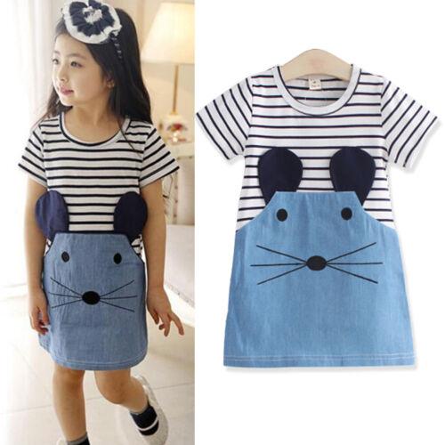 Toddler Baby Kids Girls Summer Cartoon Print Dress Casual Pajamas Sleepwear