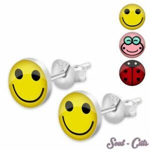 Enfant Boucles d/'oreilles Smiley Argent 925