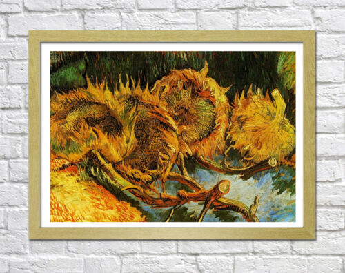 VAN GOGH FOUR CUT SUNFLOWERS-FRAMED CANVAS PAINTING WALL ART PICTURE PAPER PRINT