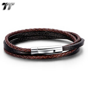 TT-Black-Brown-Real-Leather-Double-Row-316L-S-Steel-Clip-Bracelet-BR234-NEW