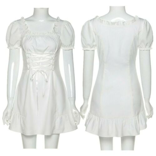 Womens Casual Slim Ruffle Dress Lady Puff Sleeve Elegant Lace-Up Office Dresses