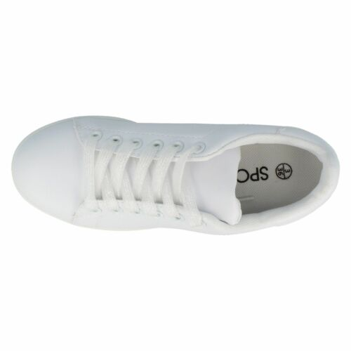 £14.99 Ladies F80267 White Lace Up Trainers by Spot On