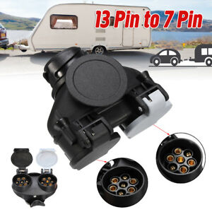 13-Pin-Car-To-7-Pin-Plug-Socket-Adapter-Converter-Caravan-Towing-Tow-Bar-UK-12V