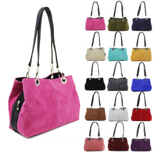 3690ca7897ce New Womens Small Real Suede Italy Leather Handbag Tote Hobo Shopper ...