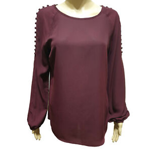 Ex-Wallis-Long-Sleeve-Button-Sholder-Top-Blouse-Wine-or-Black