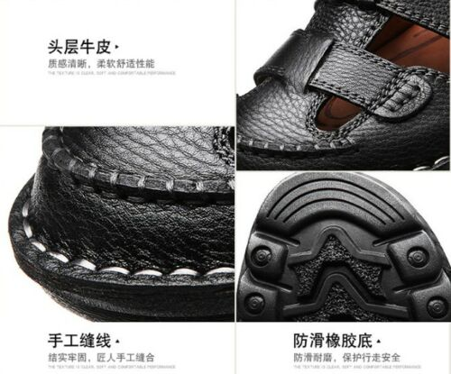 Men Summer Sports Leather Casual Sandals Close Toe Outdoor Beach Fisherman Shoes