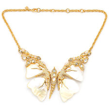 De Buman 18K Yellow Gold Plated & Mother-of-Pearl Butterfly Necklace