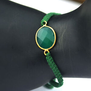 Green-Onyx-gemstone-cord-bracelet-925-Sterling-silver-Gold-Plated-Jewelry-6g
