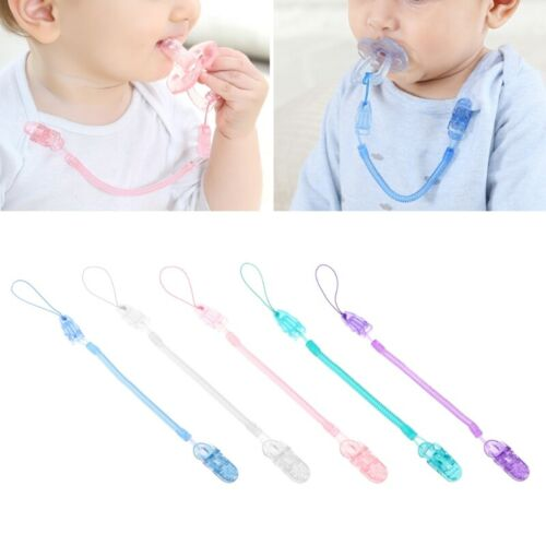 Baby Toddler Dummy Pacifier Spring Soother Nipple Clip Chain Holder Strap UK