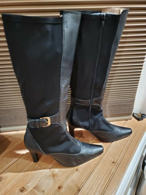 Bellini black tall knee high leather/fabric boots, size 12 W, worn twice.