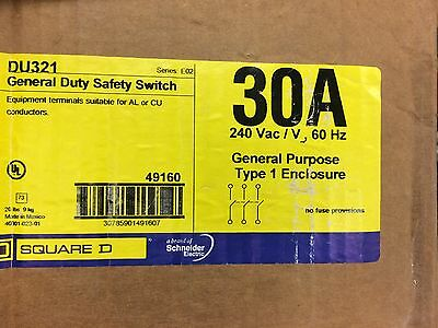 NEW DH362UGK 60A 600V CUTLER HAMMER 3 PHASE NON-FUSED NEMA 1 HD DISCONNECT -SES