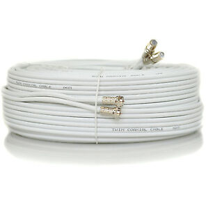 5m Metre White Twin Satellite Sky HD Extension Cable Lead Fitted Coax Shotgun