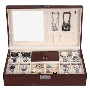 NEW Brown Leather Mens Unisex Jewelry Box 8 Watch Organizer Storage