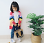Baby Kids Girls Cotton Knit Sweater Rainbow Cardigans Jumpers Outerwear Coat