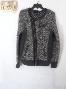 fcfa2e578c Details about Cynthia rowley 1x Moto sweater jacket with leather trim  Womens 1X