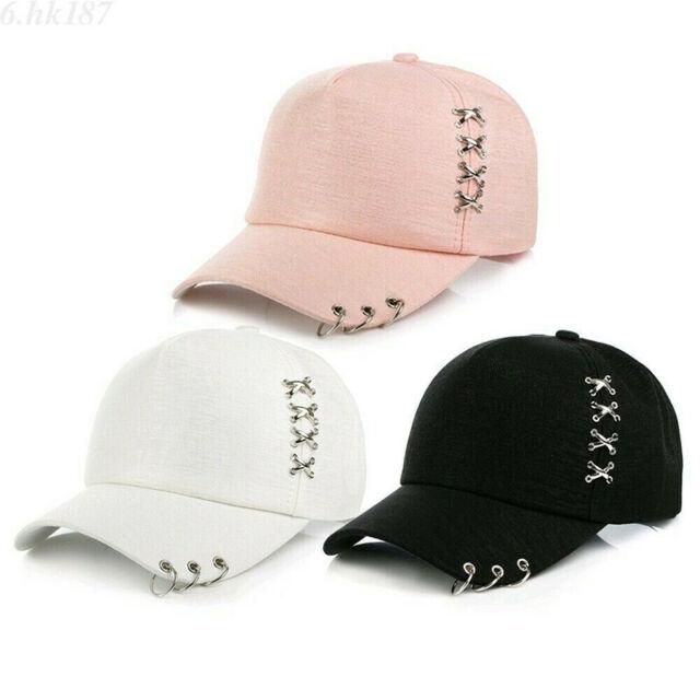 f3e5c4fcc KPOP Boys Hat Iron Ring Baseball Adjustable Cap Hip Hop Snapback Gothic Cap