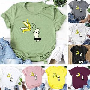 Korean-Cotton-T-Shirt-Loose-Cartoon-Short-Sleeved-Banana-Print-Blouse-Women-K5R1